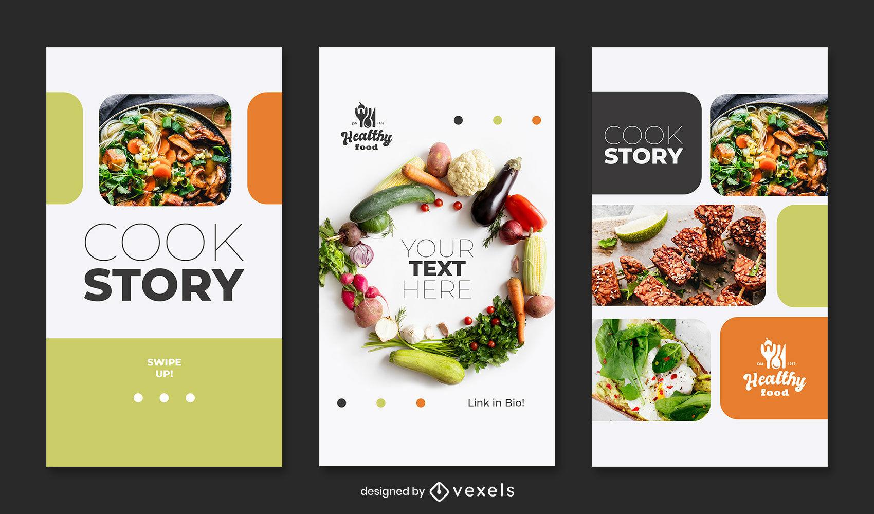 Plantilla de historia de instagram de recetas de verduras