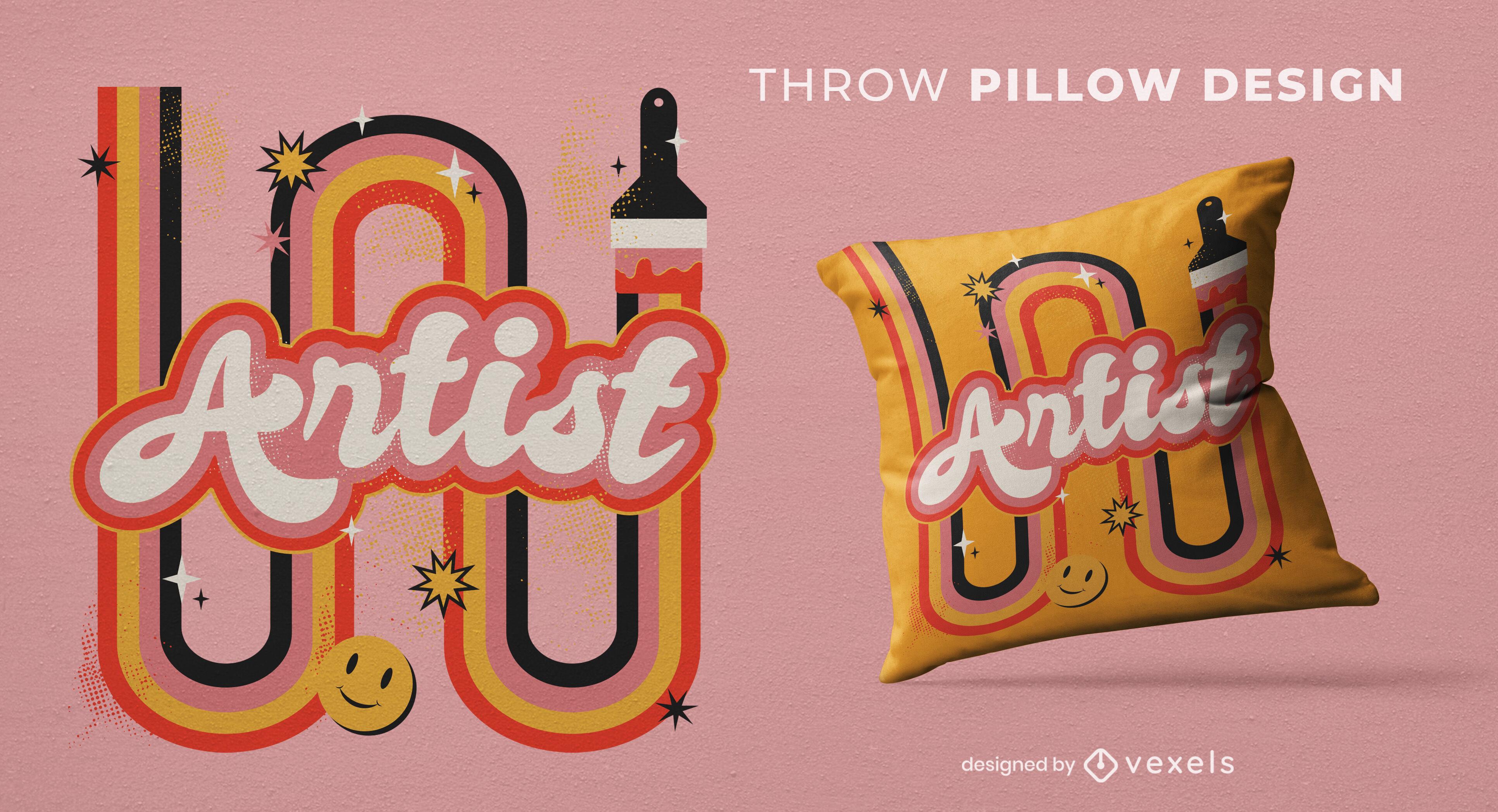 Cool artistic throw pillow design