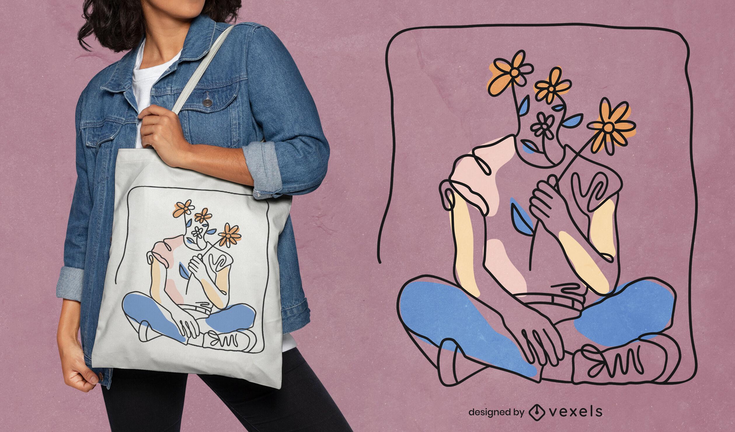 Diseño fresco de la bolsa de asas de la muchacha de las flores
