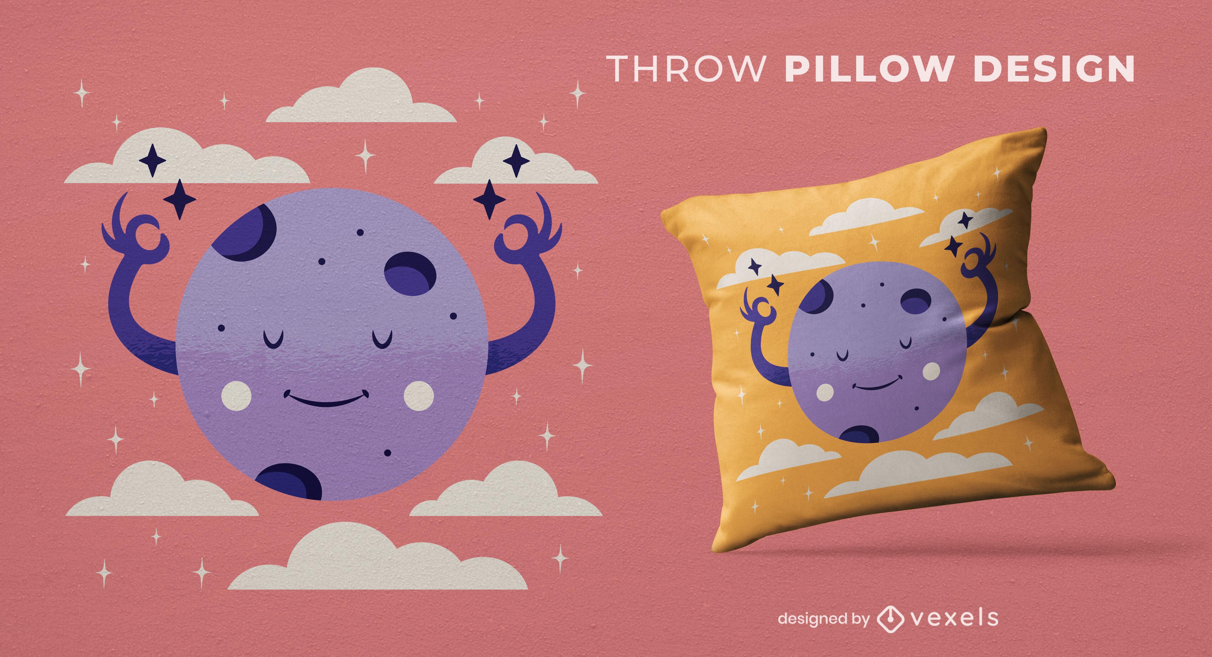 Cute meditating moon throw pillow design