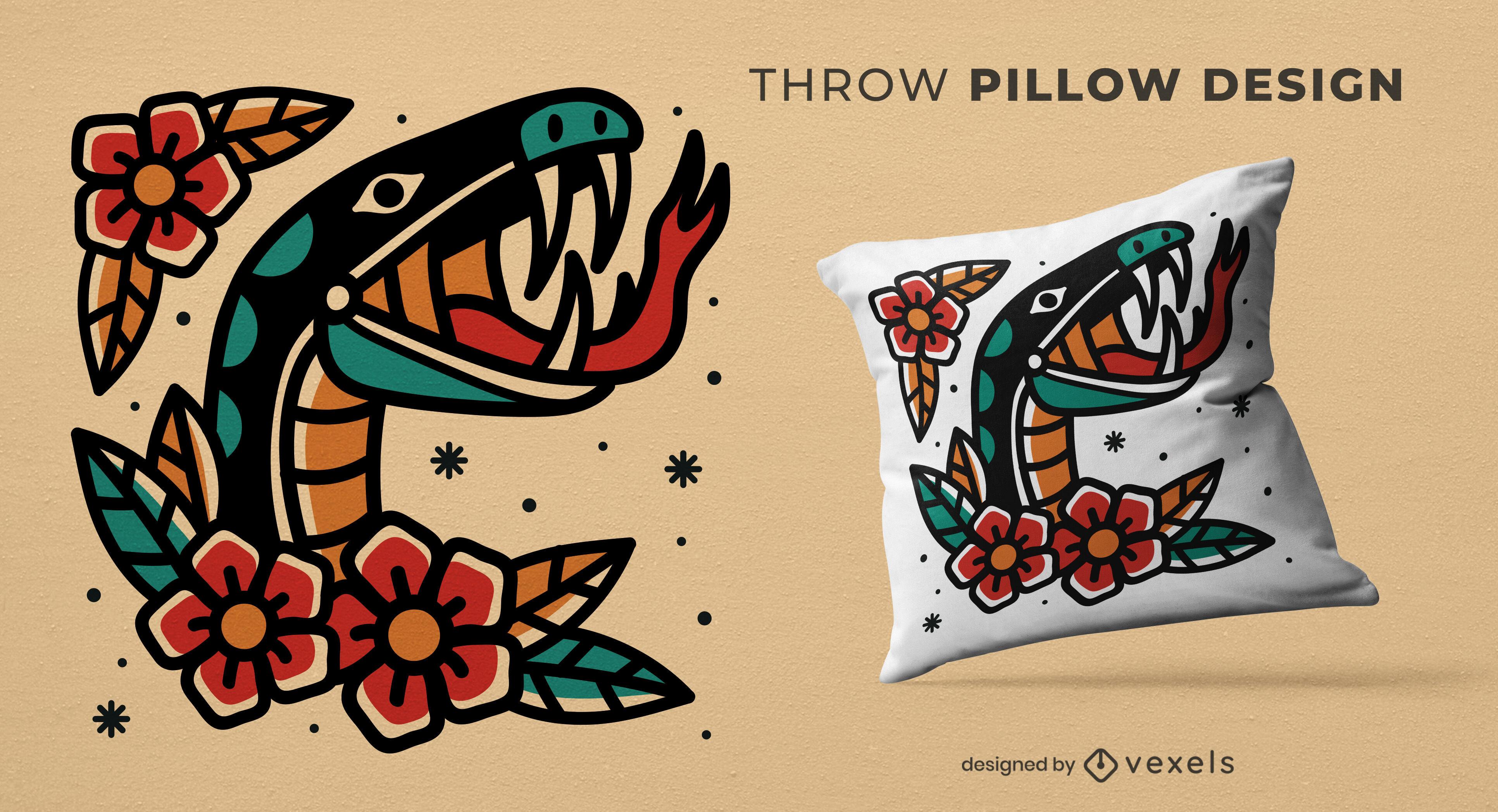 Tattoo snake throw pillow design