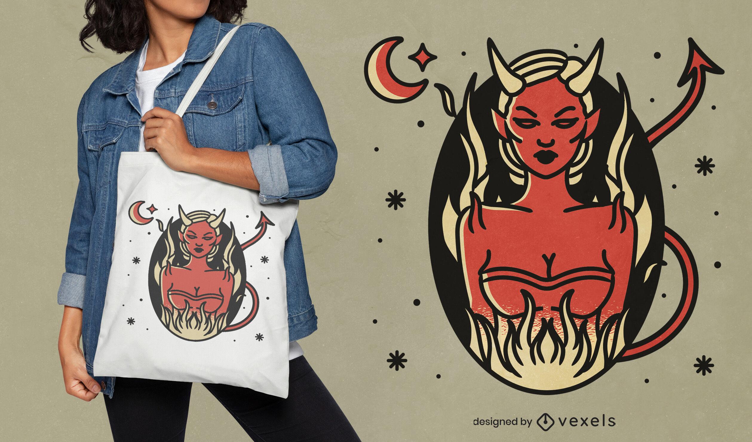 Devil woman Halloween tote bag design