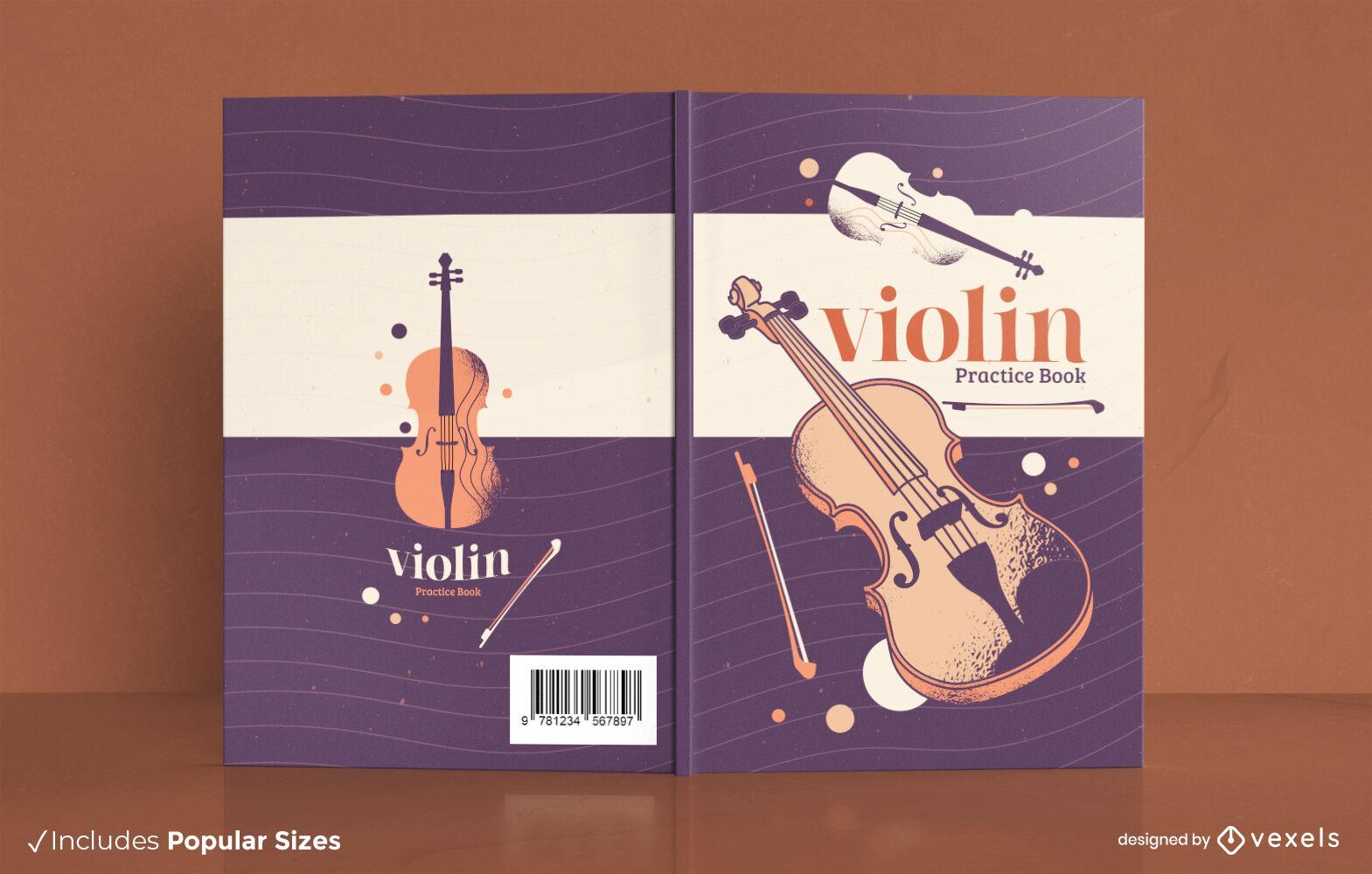 Diseño de portada de libro de instrumento de música de violín
