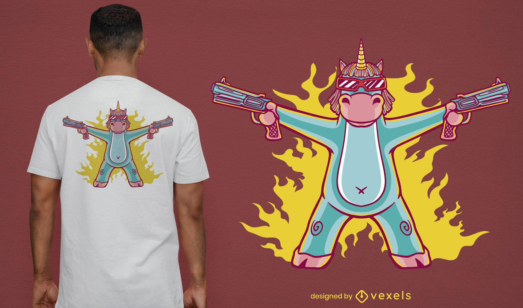 Unicornio con dise?o de camiseta de dibujos animados de armas.