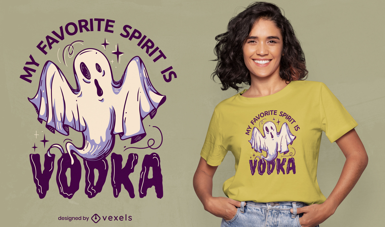 Drunk spirit ghost cartoon t-shirt design