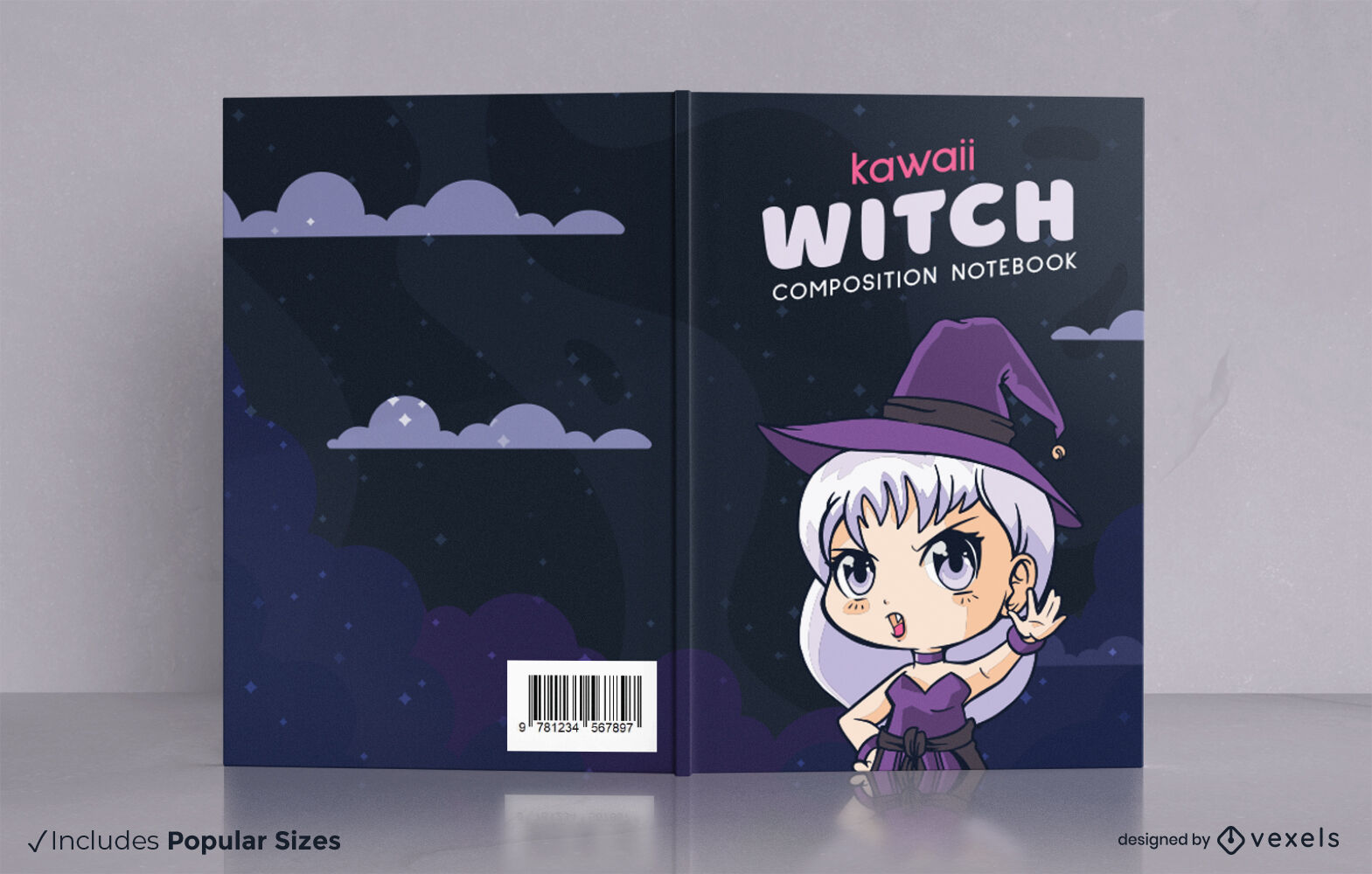 Witch chibi character book cover design