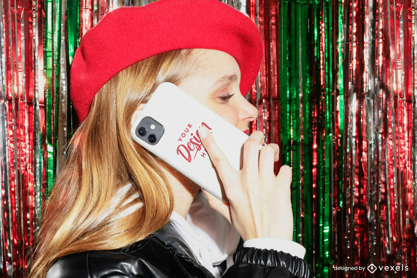 Woman in beret shiny curtain phone case mockup