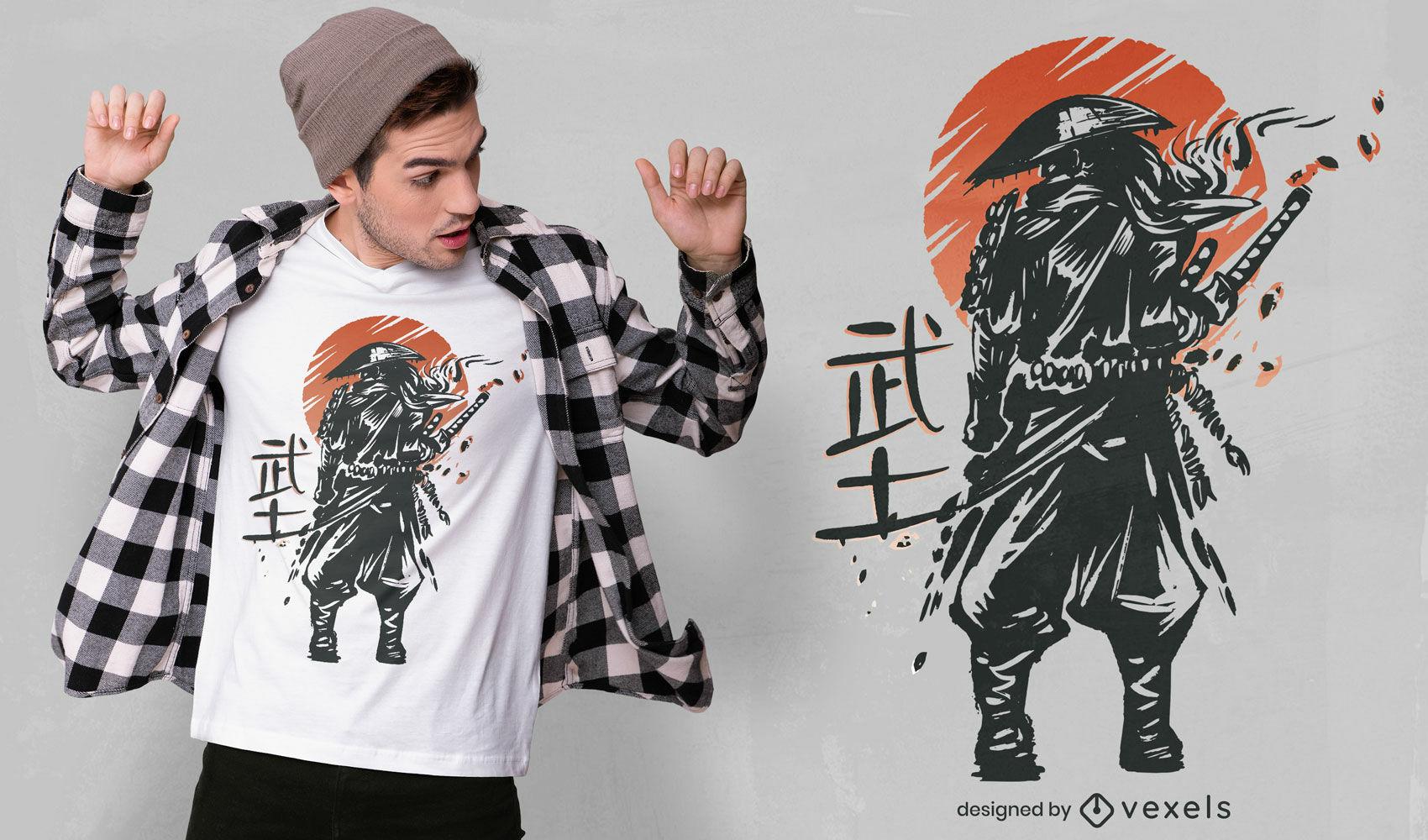 Diseño de camiseta japonesa samurai warrior