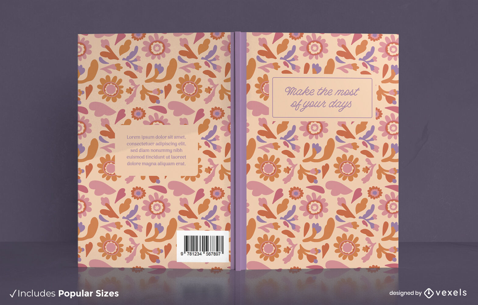 Beautiful daily journal book cover design