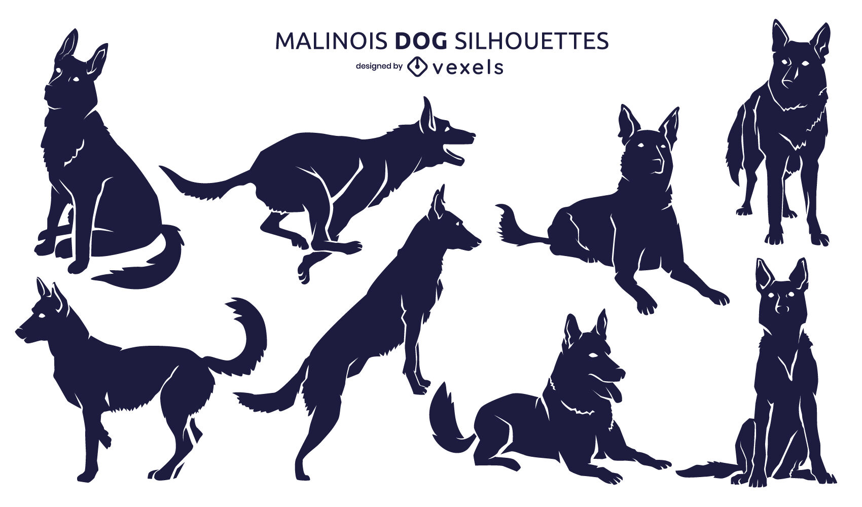 Belgian malinois dogs animal silhouette set