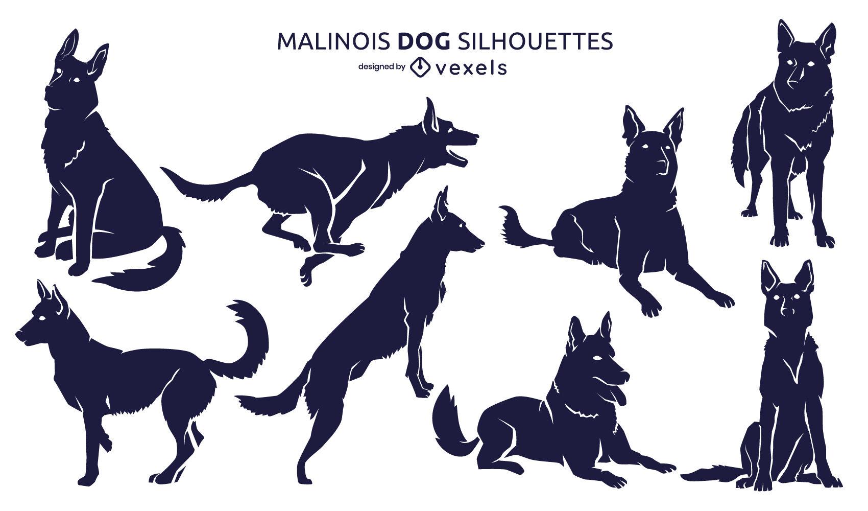 Conjunto de silueta de animal de perros pastor belga malinois