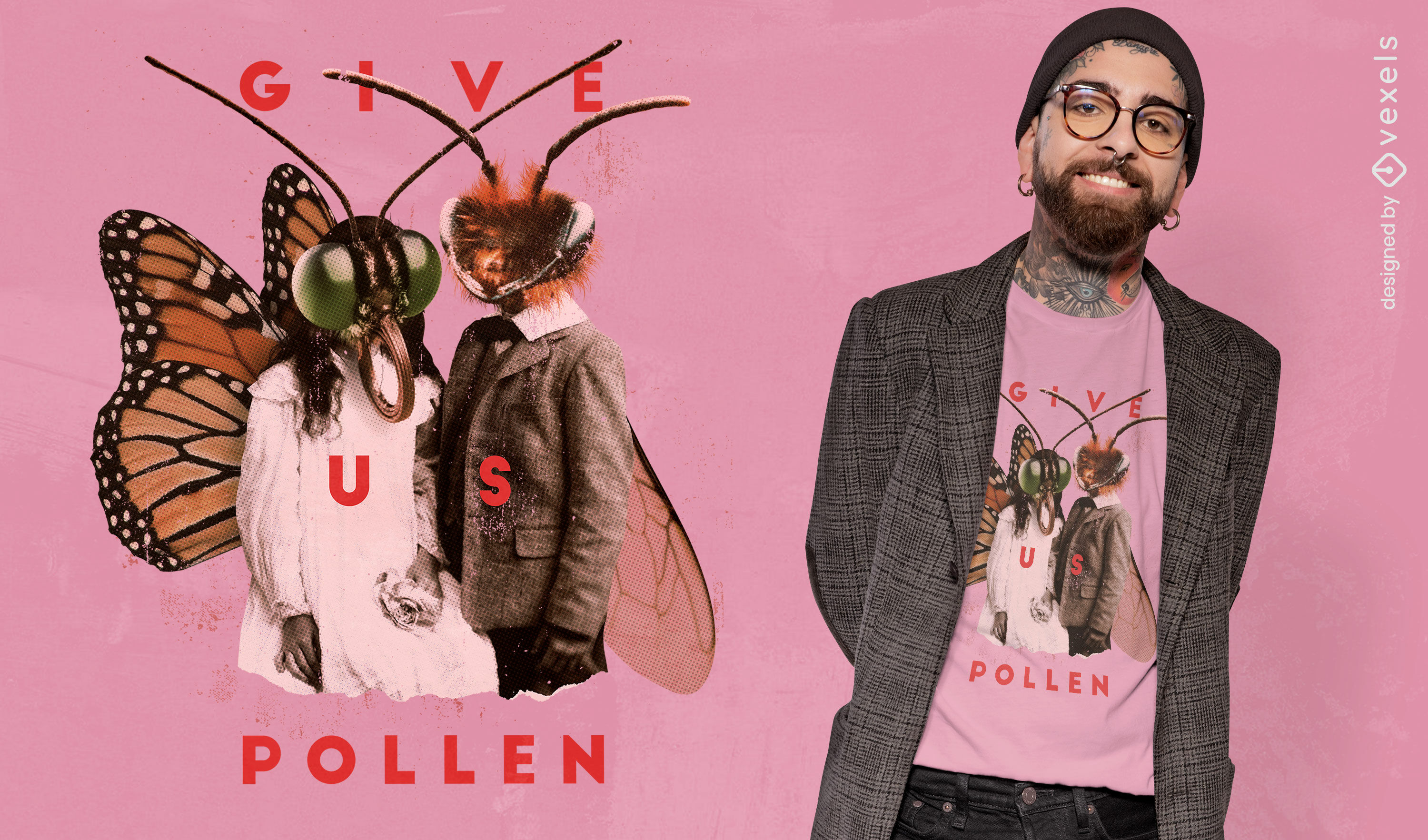 Moth insect people collage t-shirt psd
