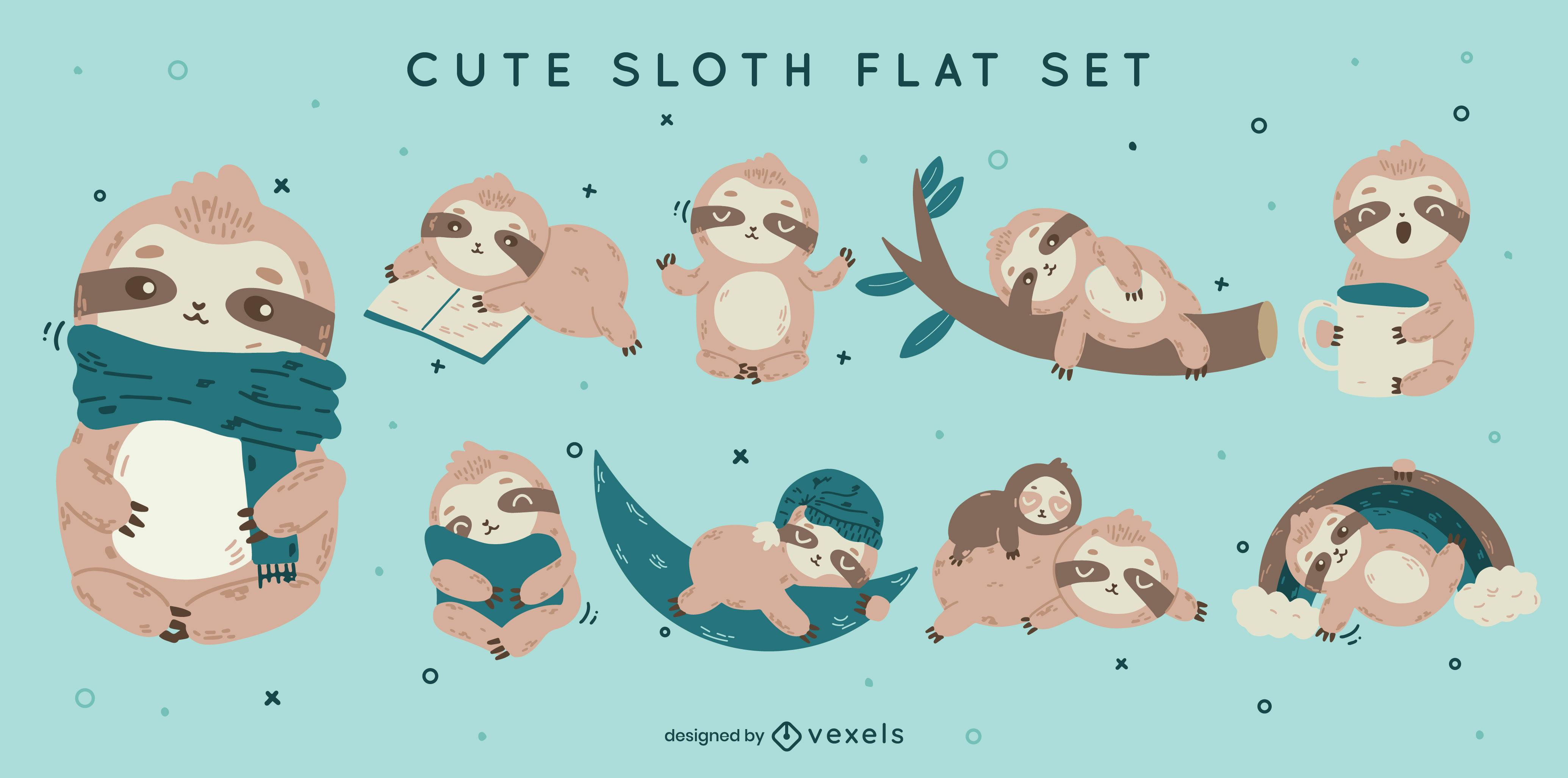 Cute sloth character set design
