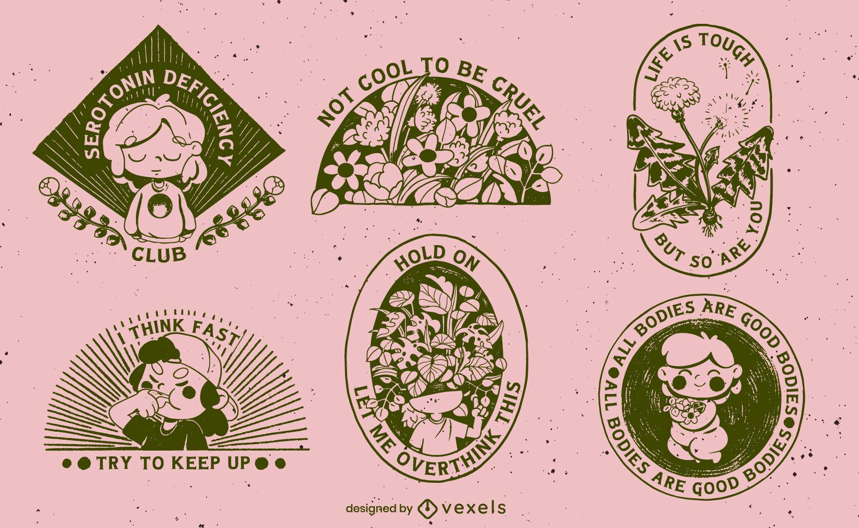 Belos designs de emblemas de saúde mental preenchidos com traços