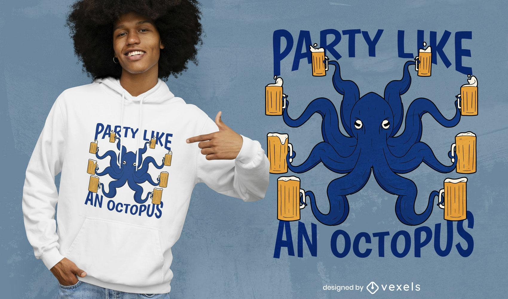 Dise?o de camiseta de cerveza de pulpo de fiesta.