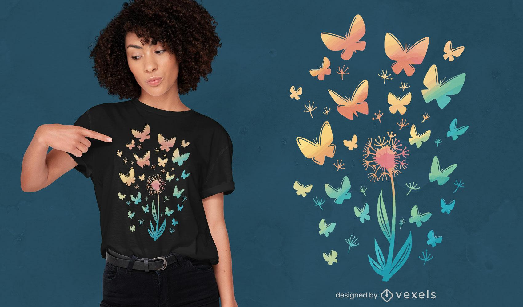Dise?o de camiseta de flor de diente de le?n y mariposas.