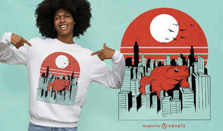 Animal sapo gigante no design de camiseta da cidade