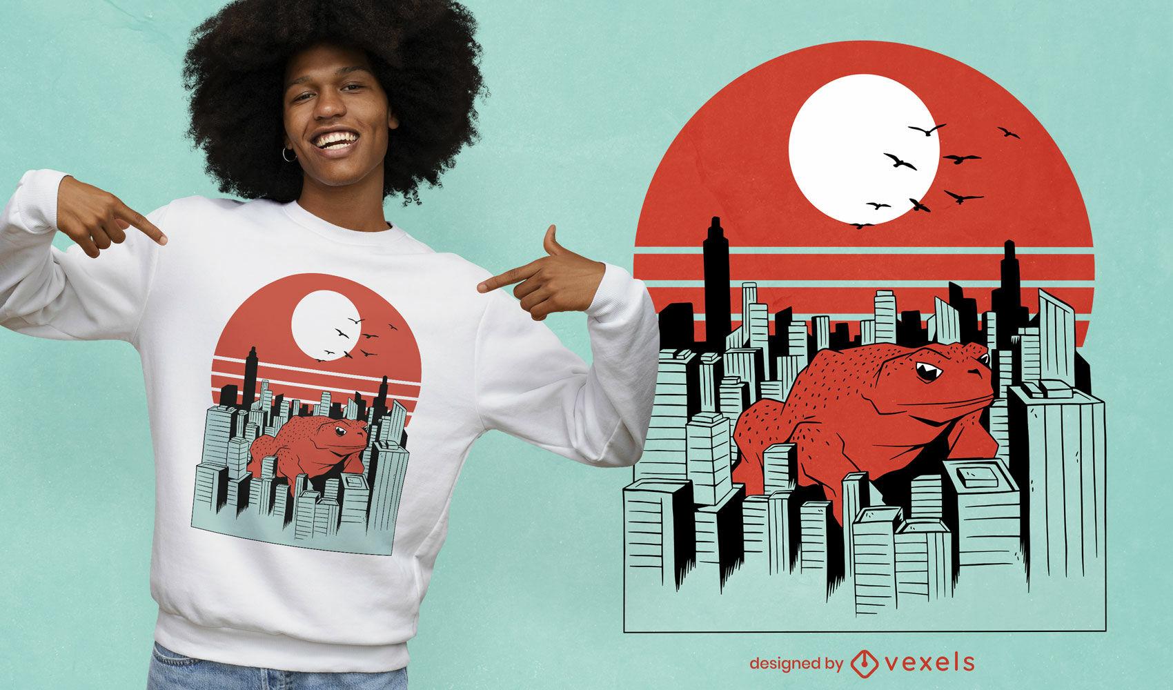 Riesenfroschtier im City-T-Shirt-Design