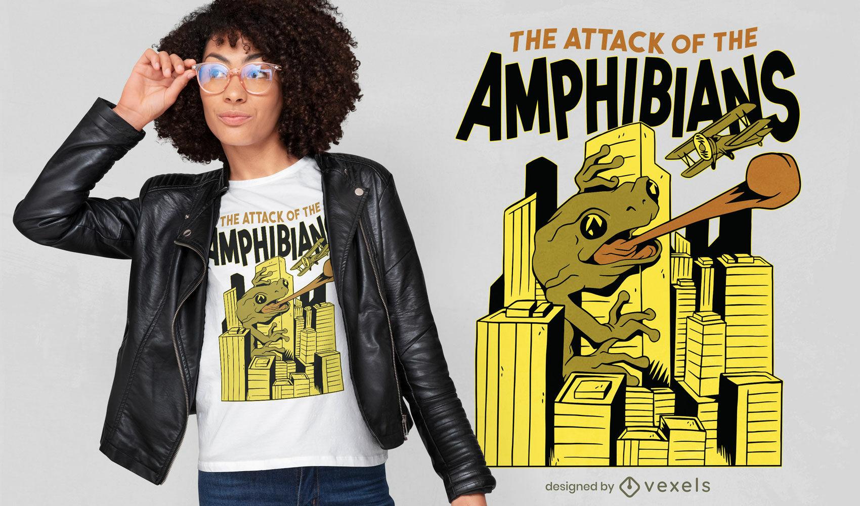 Attack of the amphibians t-shirt design
