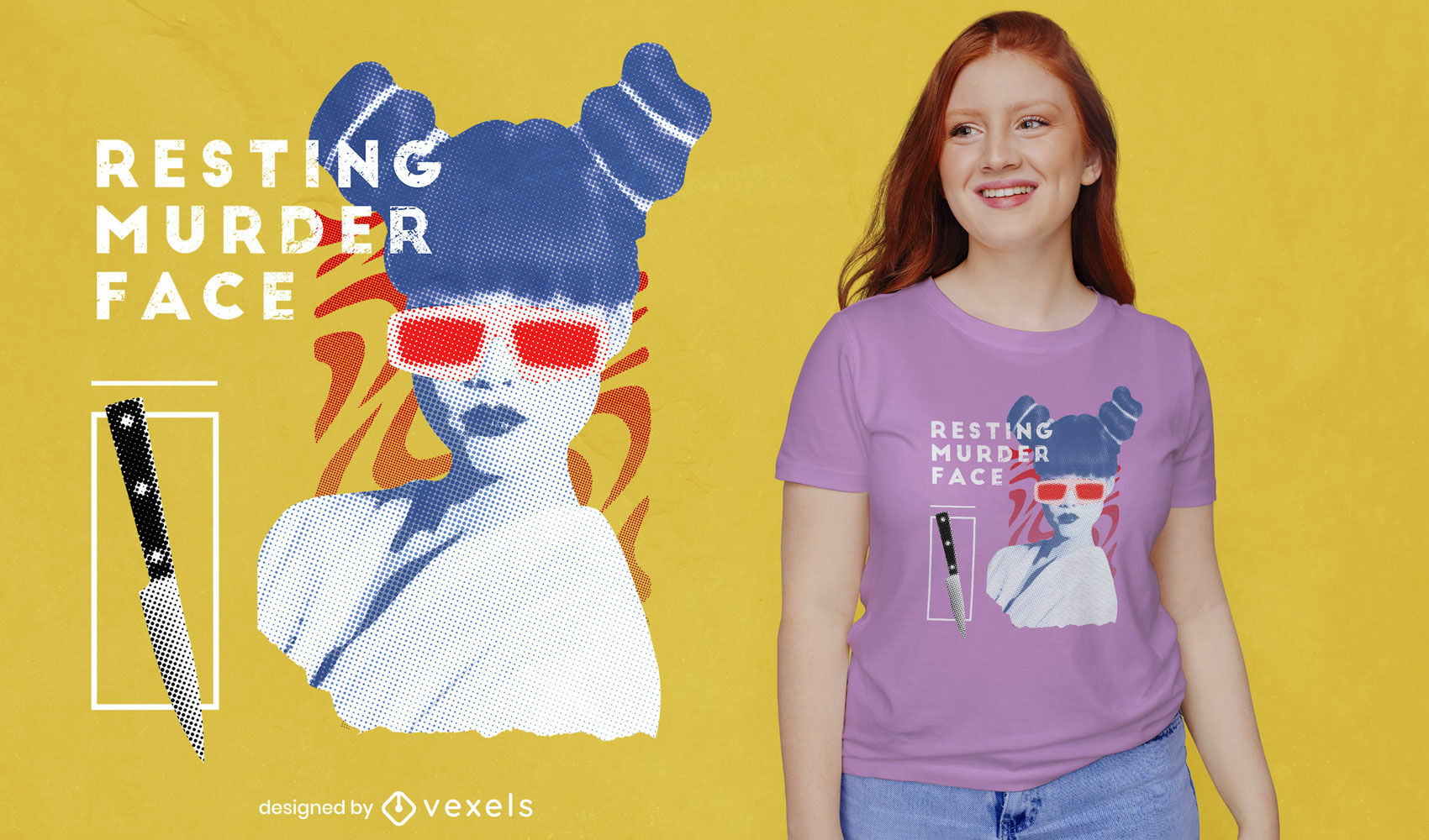 Confident woman collage t-shirt psd