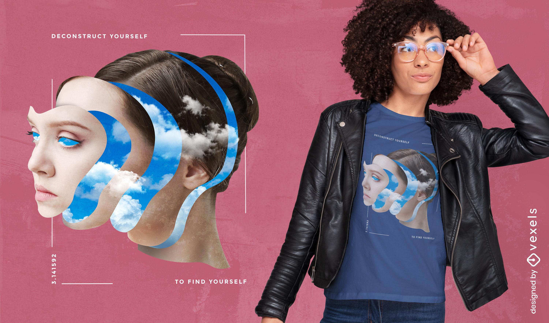 Camiseta de mujer nublada con cara recortada psd