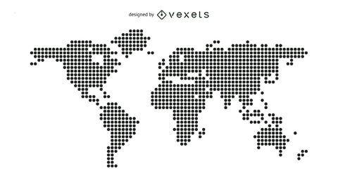 Mapa del mundo punteado