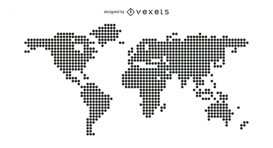 Mapa do mundo pontilhado