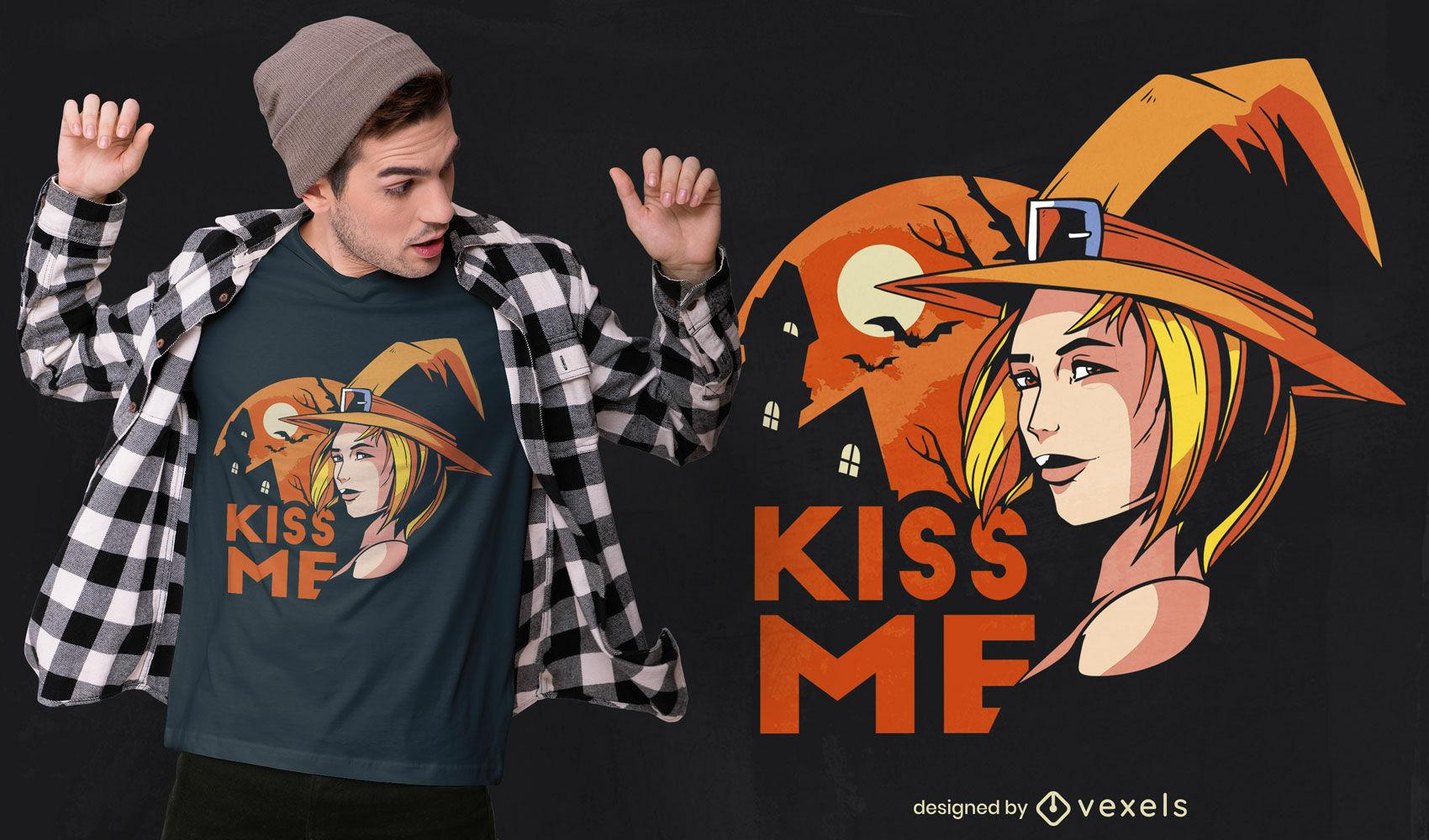 Kiss halloween witch t-shirt design