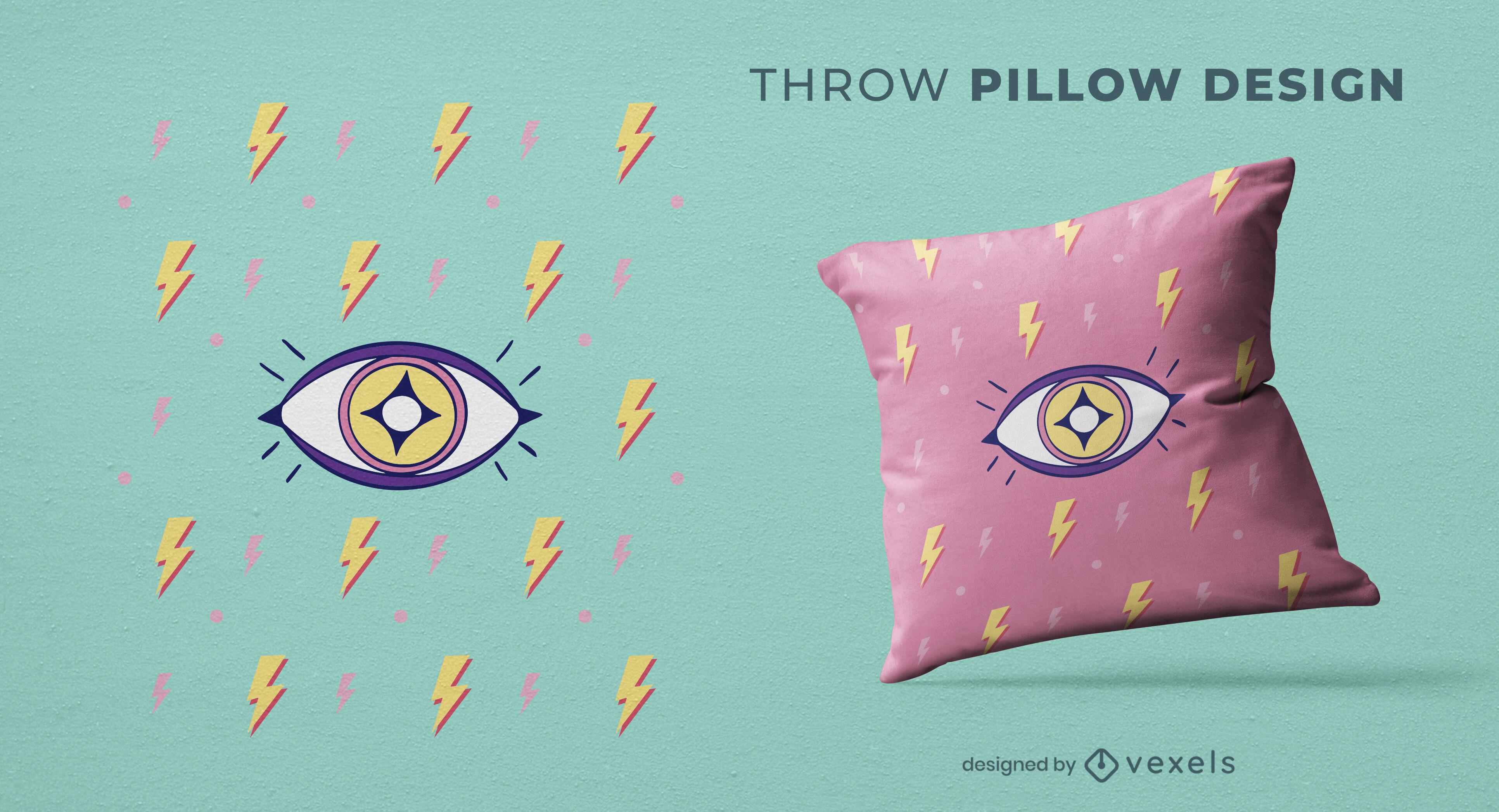 Memphis eye throw pillow design