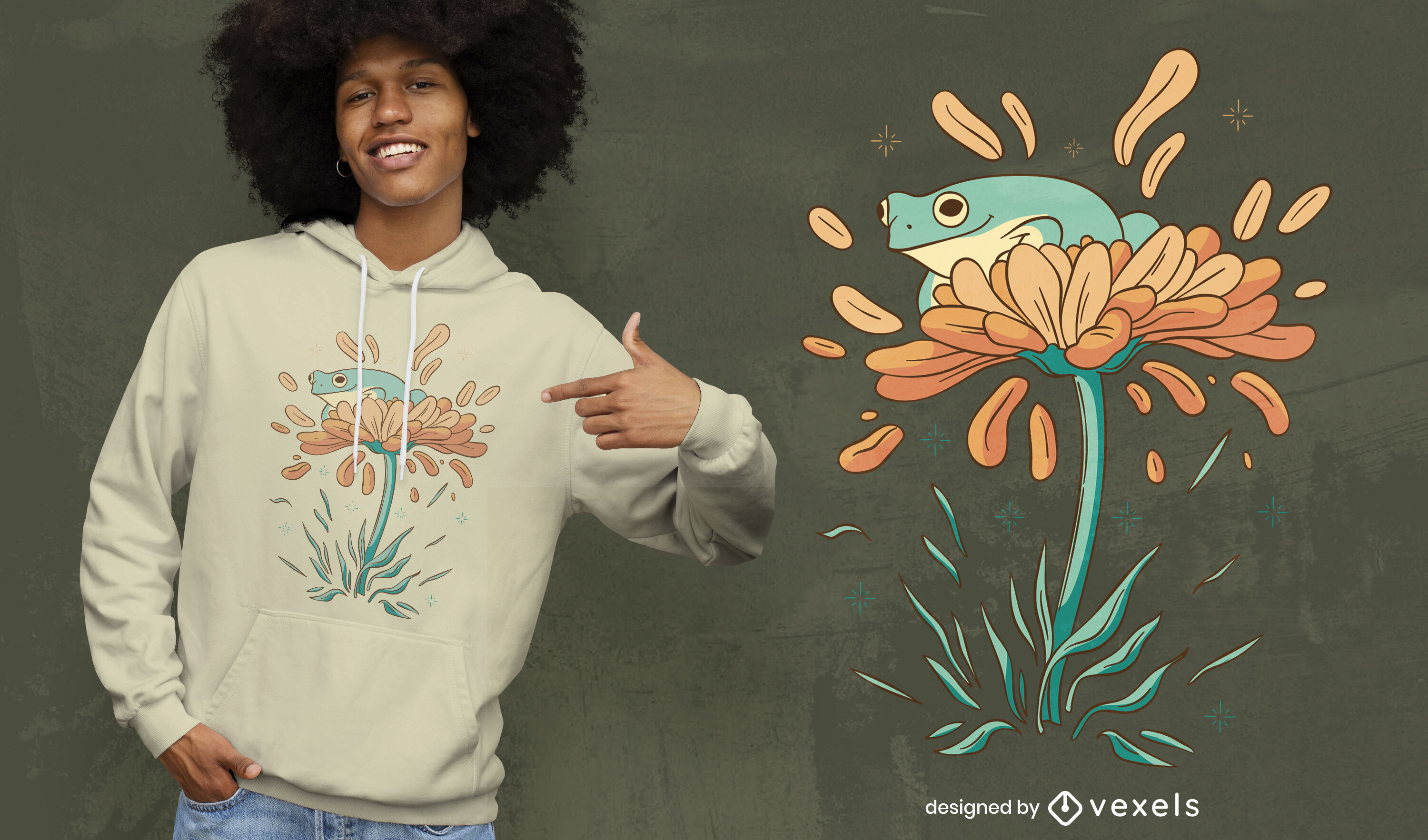 Frog on flowers nature t-shirt design