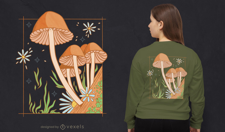 Diseño de camiseta de jardín de setas cottagecore