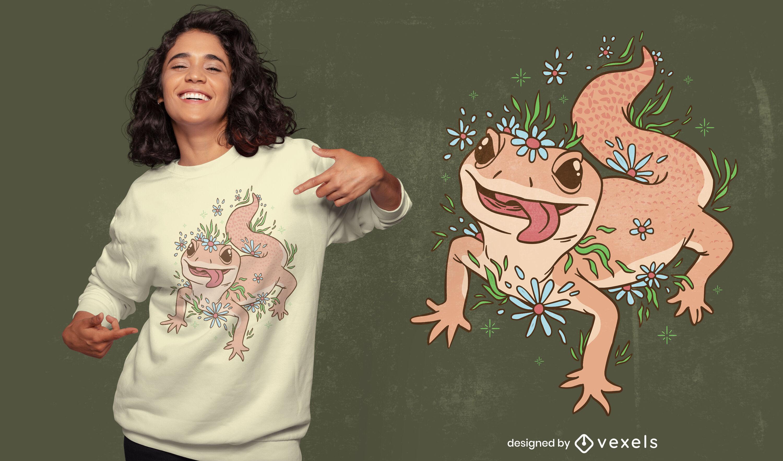 Diseño de camiseta gecko lizard cottagecore