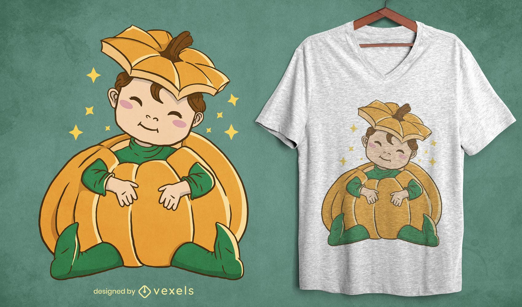 Diseño de camiseta de disfraz de calabaza de bebé de Halloween.