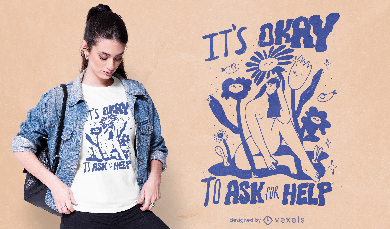 Diseño de camiseta de dibujos animados de mujer con flores