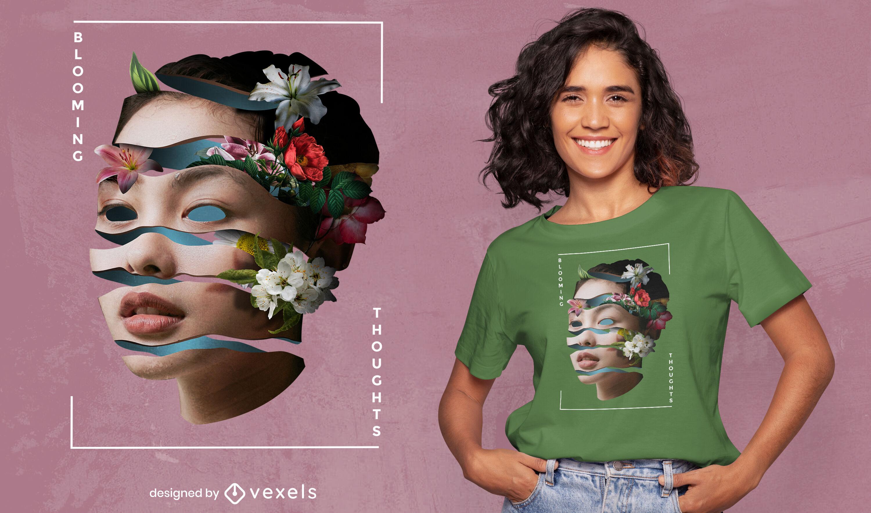 Camiseta mujer cara floral retorcida psd
