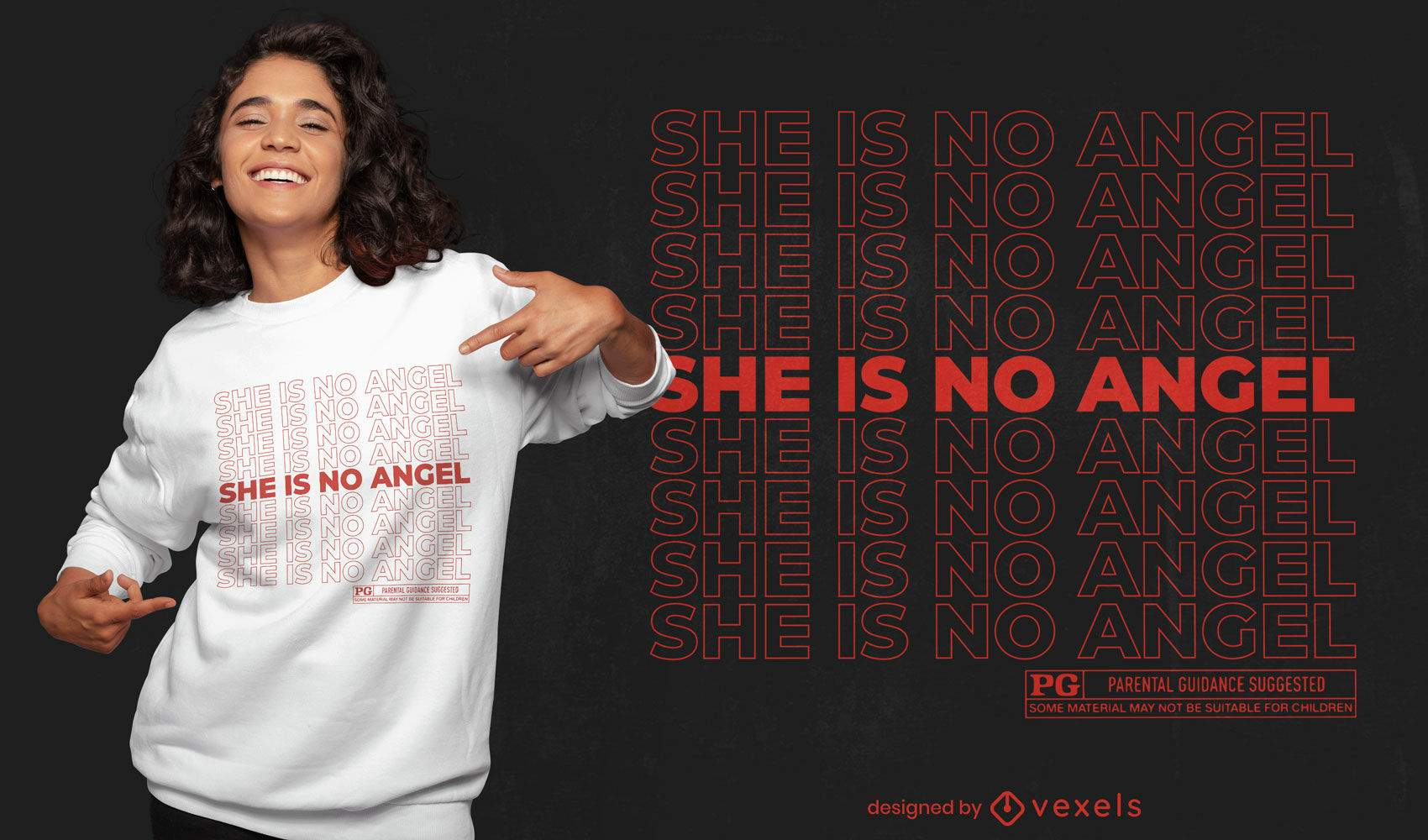 She is no angel quote t-shirt design