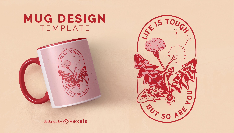 Diseño de taza floral motivacional