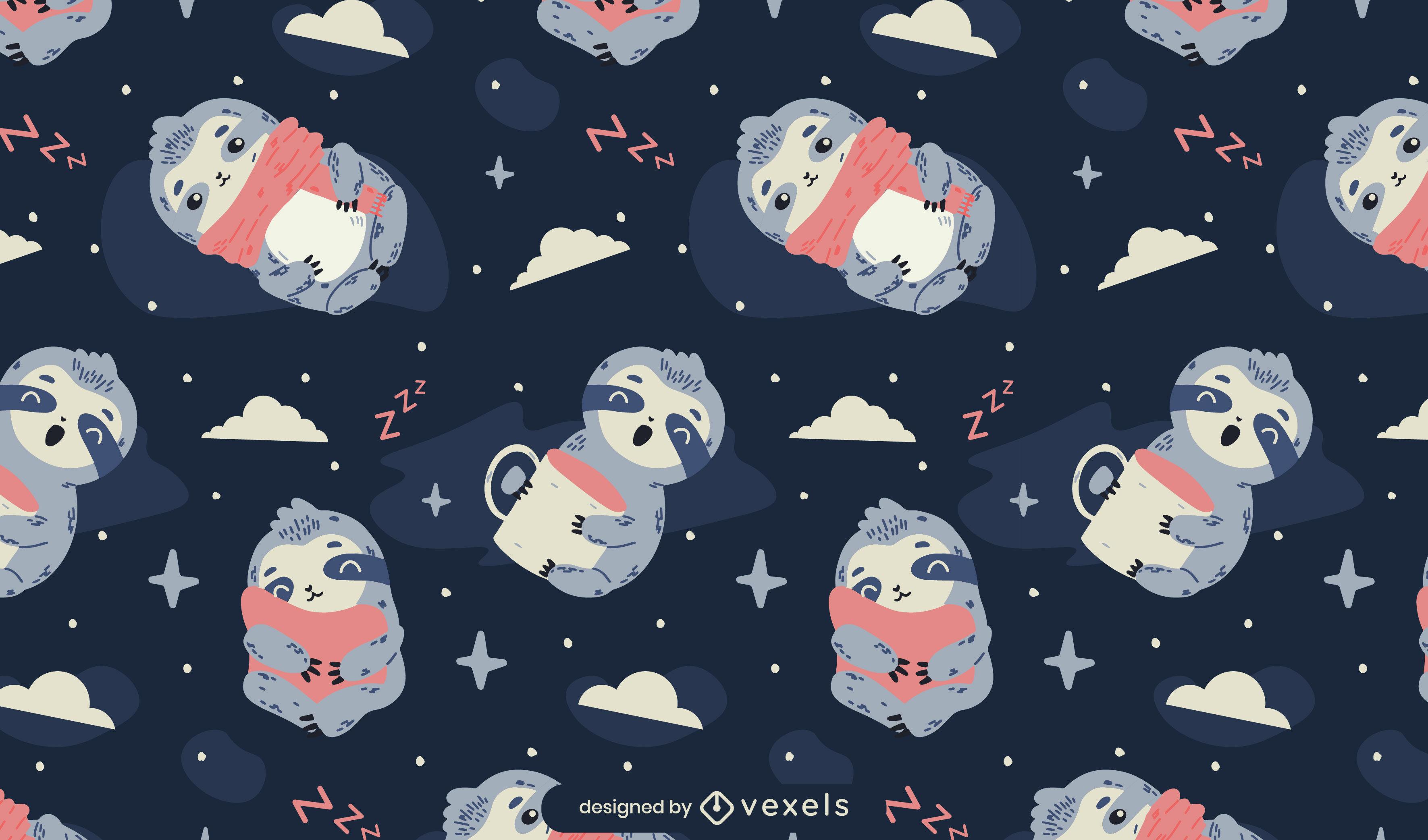 Desenho de padrão tileable de preguiças sonolentas fofas