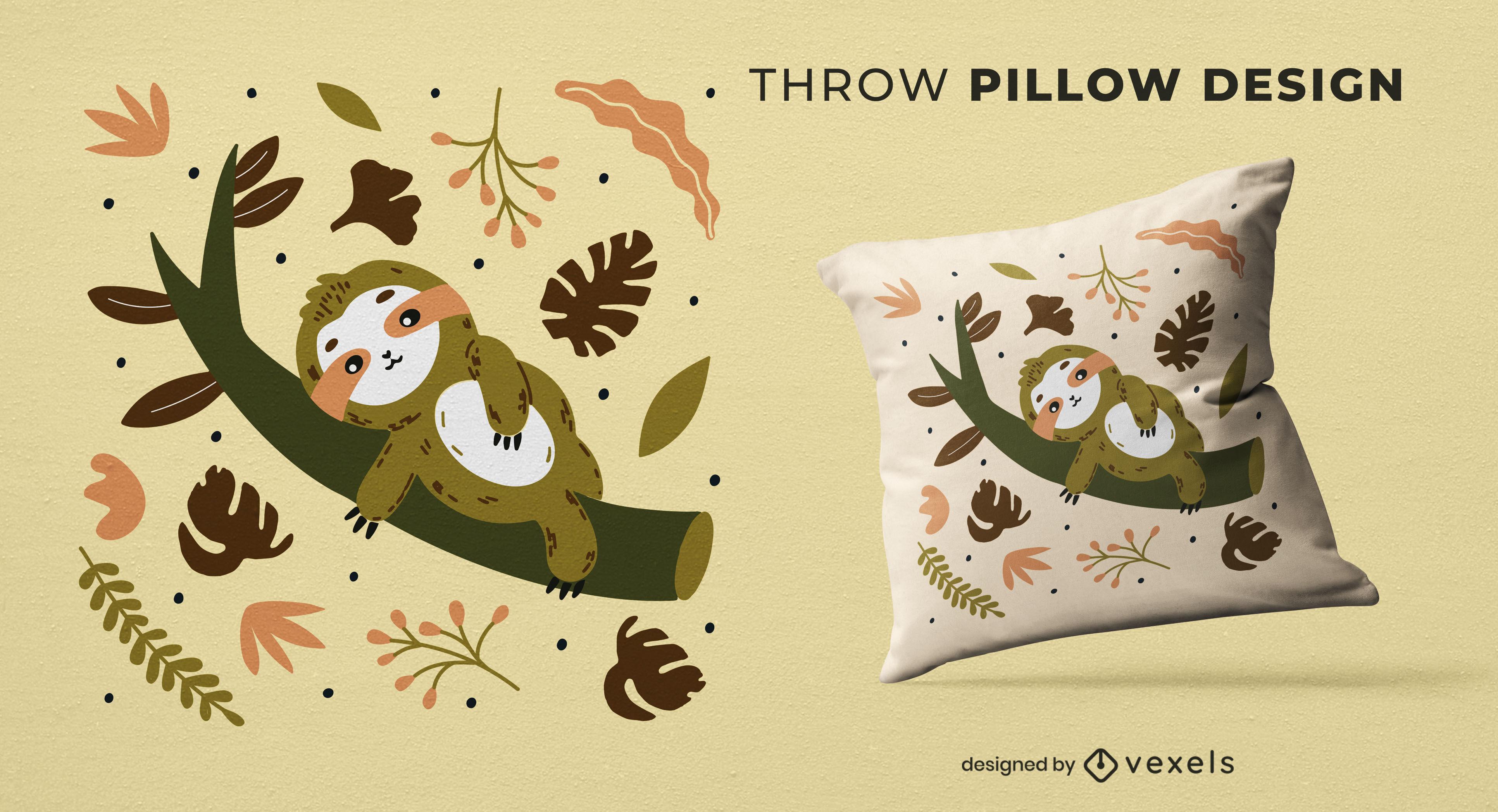 Cute sloth on a branch throw pillow design