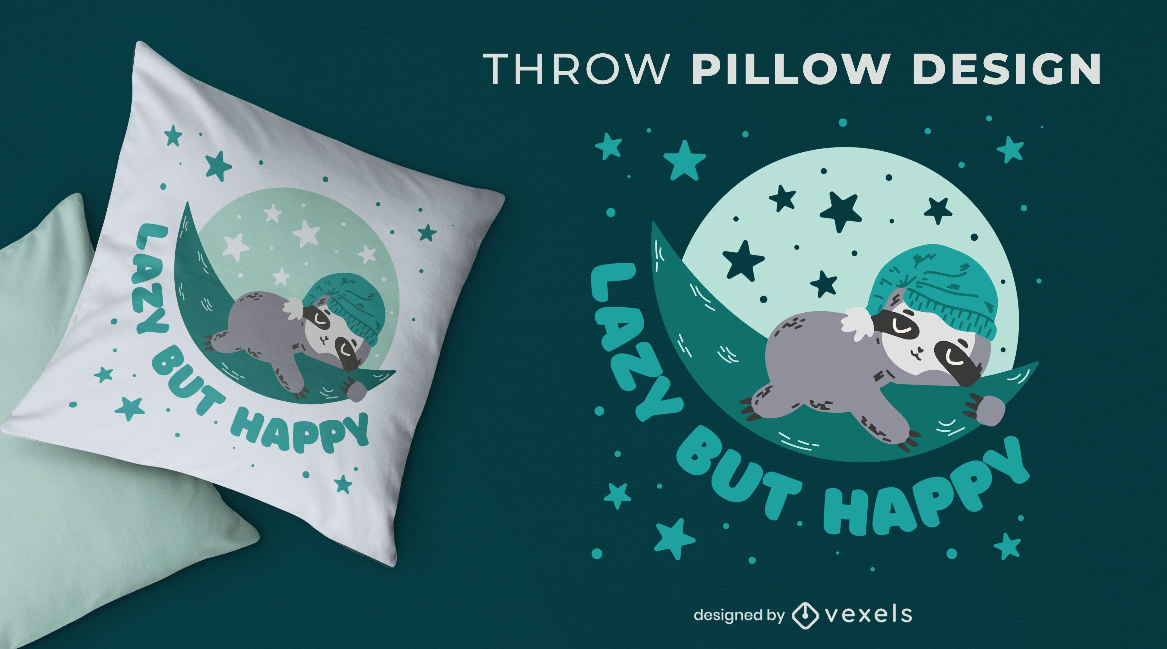 Cute lazy sloth throw pillow design