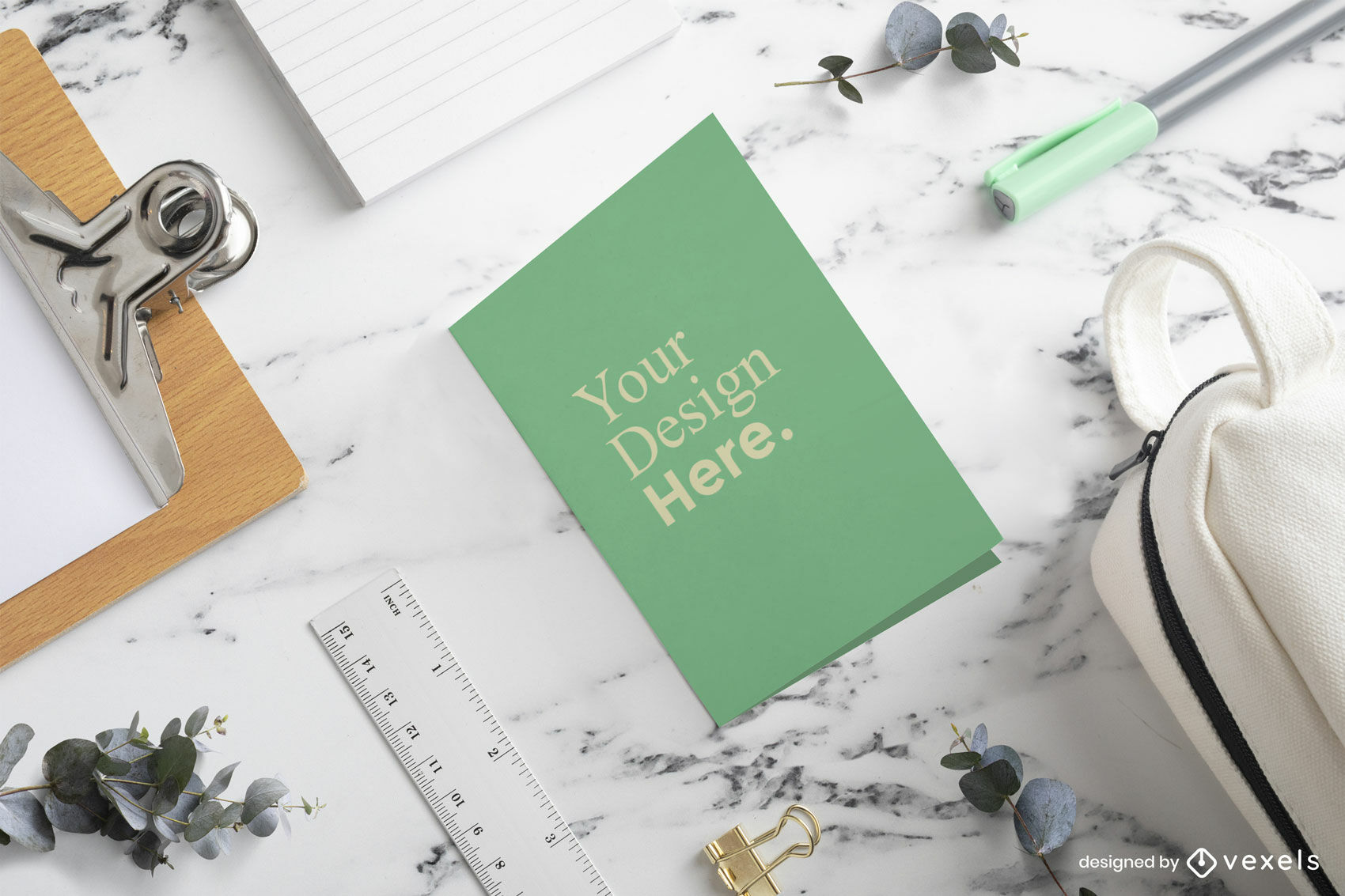 Green greeting card mockup in marble table