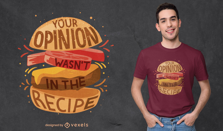 Diseño de camiseta divertida de comida de hamburguesa.