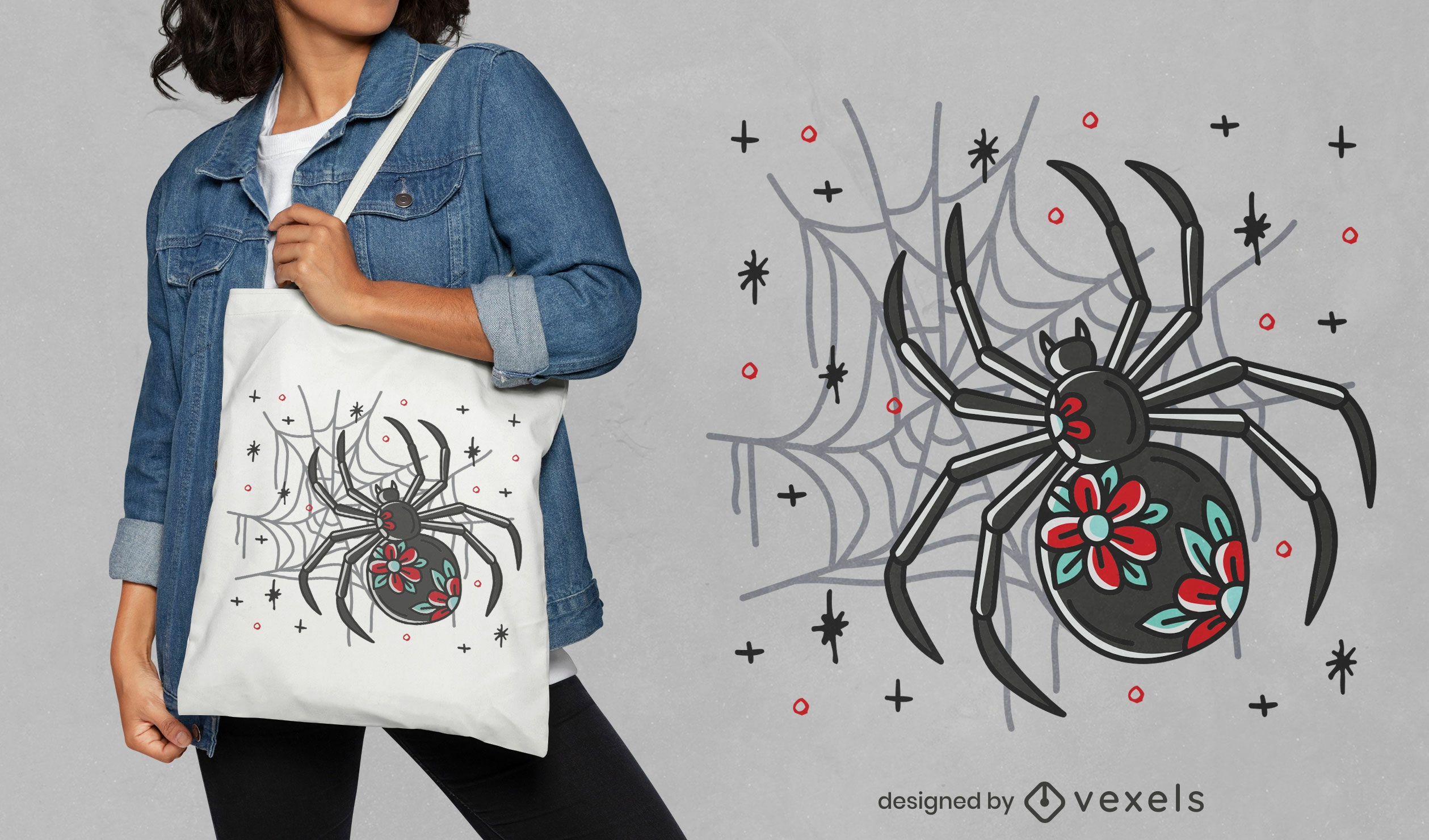 Halloween spider tote bag design