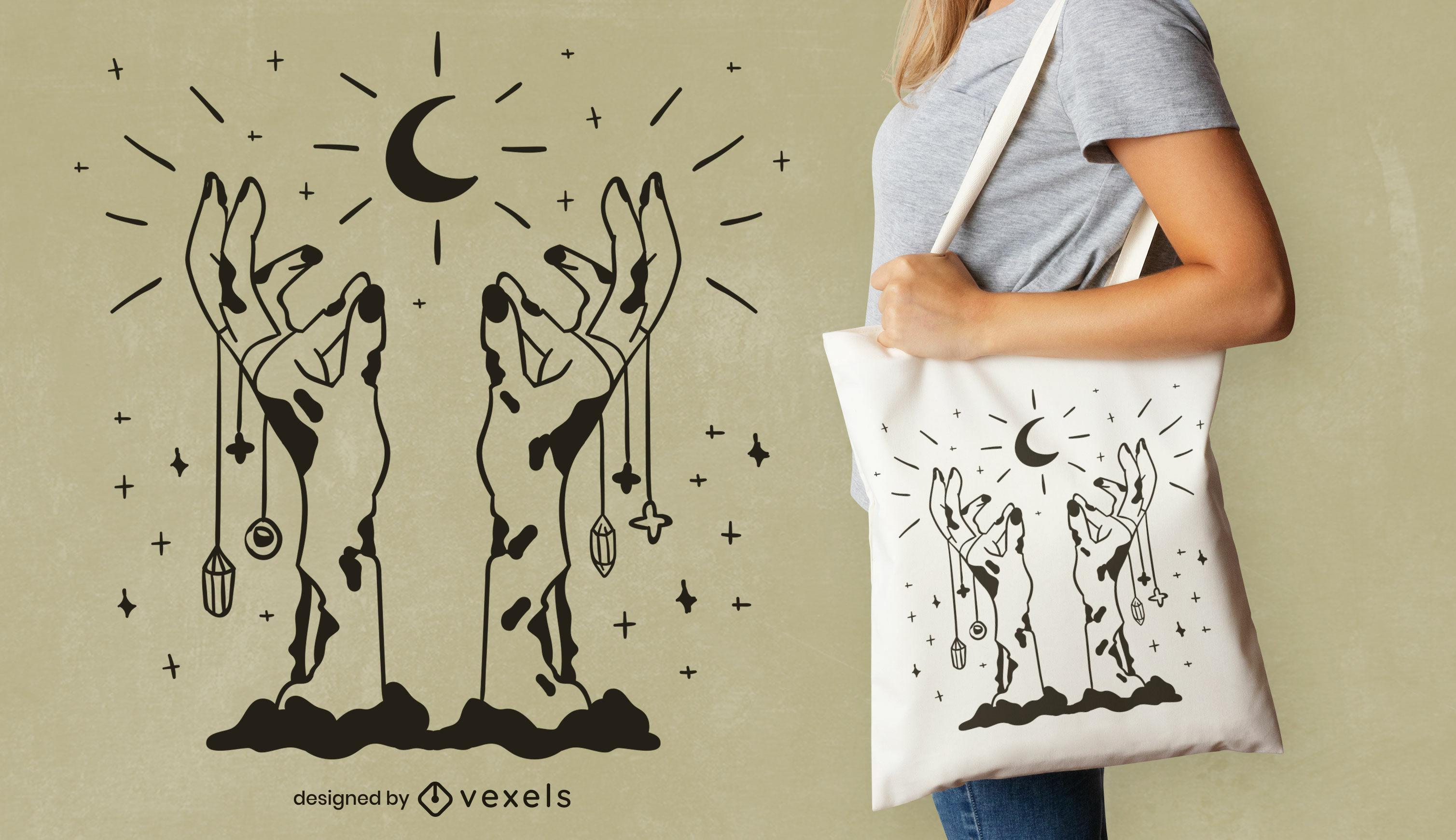 Design esotérico de sacola com as mãos de zumbis