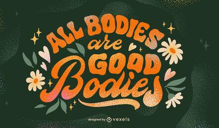 Diseño de letras de positividad corporal fresca