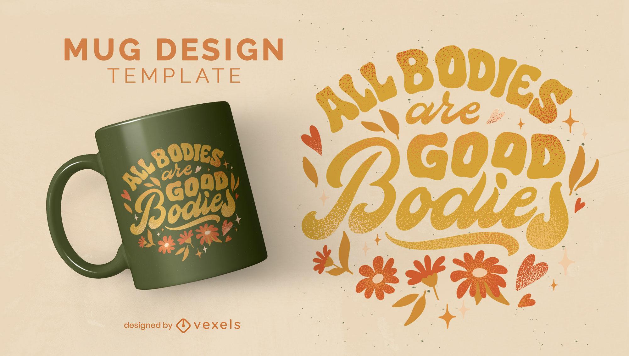 Body positivity lettering mug design