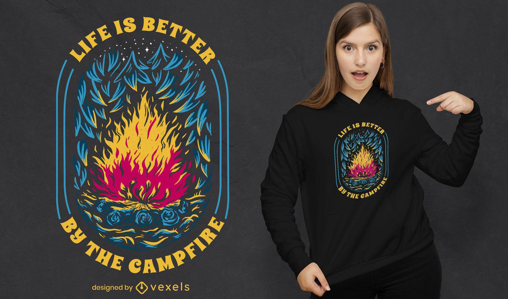 Life is better campfire t-shirt design