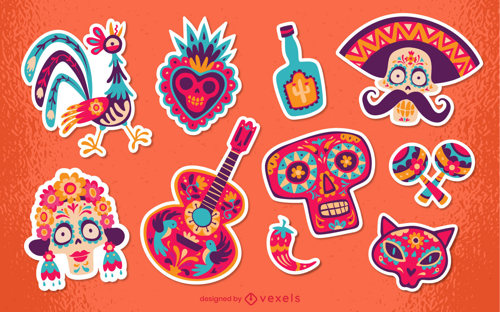Day of the dead stickers set