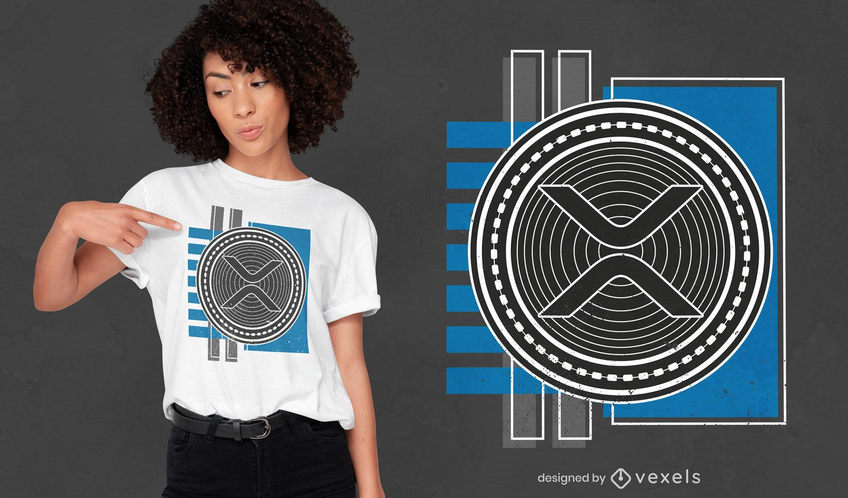Dise?o de camiseta con s?mbolo de criptomoneda XRP