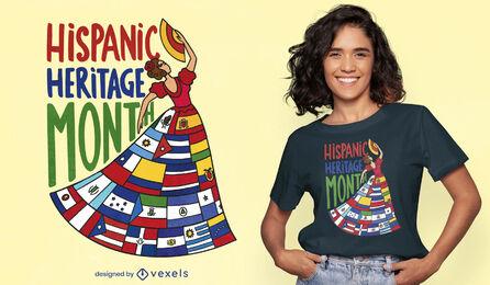 Mulher com design de t-shirt com bandeiras do país latino